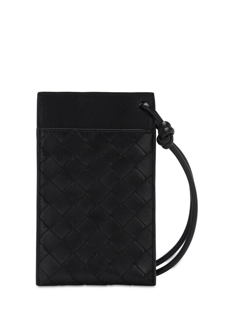 BOTTEGA VENETA Intrecciato Phone Wallet Bag in black