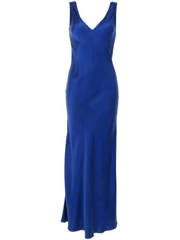 VOZ V-neck sleeveless slip dress in blue