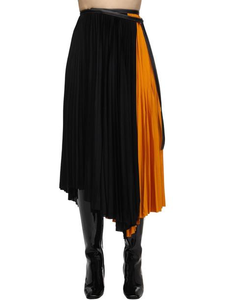 PROENZA SCHOULER Pleated Viscose Jersey Midi Skirt in black / saffron