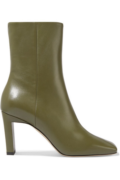Wandler - Isa Leather Ankle Boots - Army green