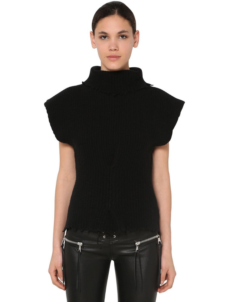 UNRAVEL Structured Wool Blend Top in black