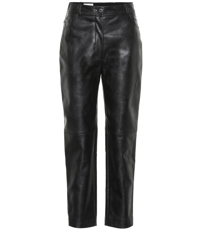 Stella McCartney High-rise faux leather pants in black
