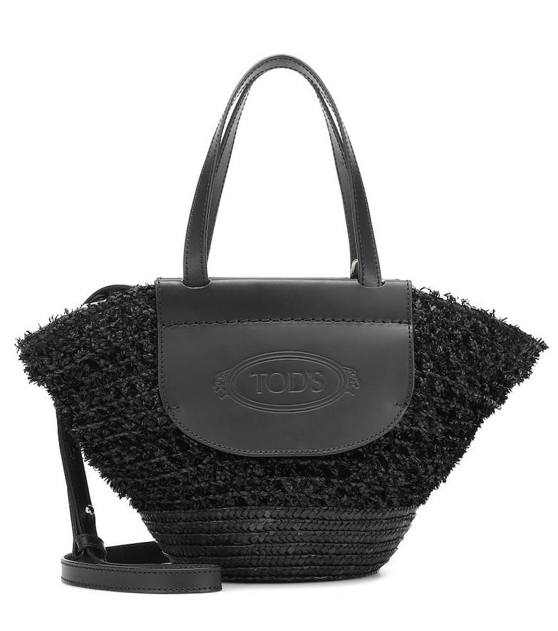Tod's Leather-trimmed raffia shopper in black