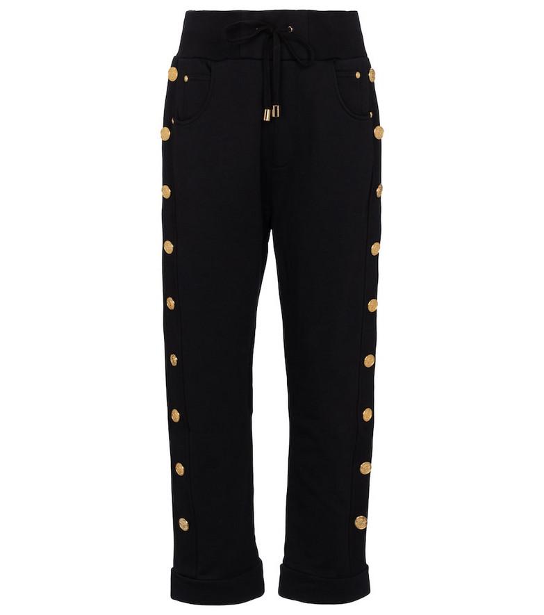 Balmain Embellished cotton sweatpants in black