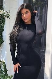 dress,bodycon,black dress,black,kylie jenner,kardashians,instagram