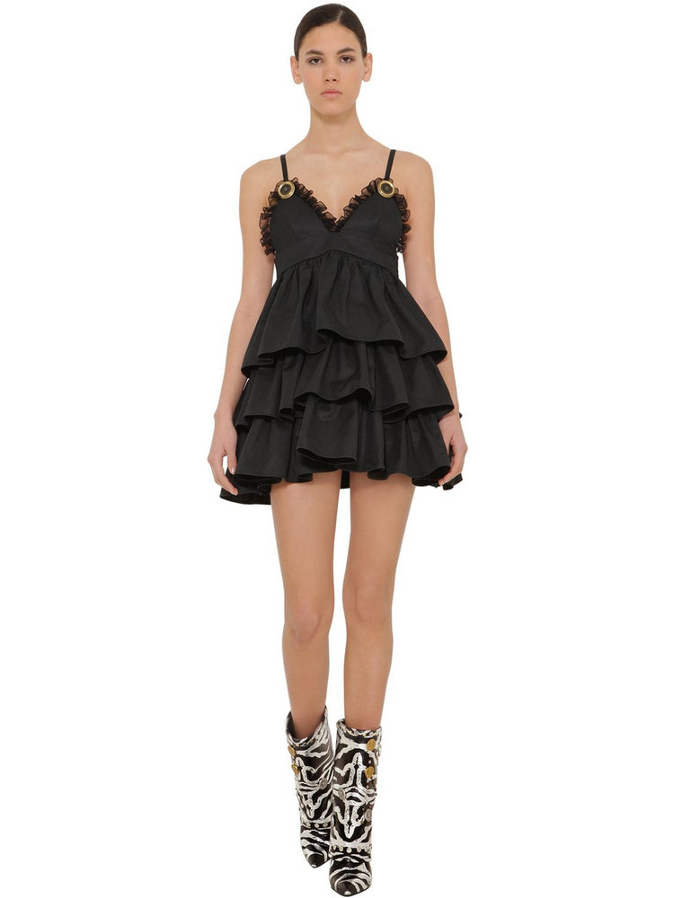 FAUSTO PUGLISI Ruffled Cotton Gabardine Mini Dress in black