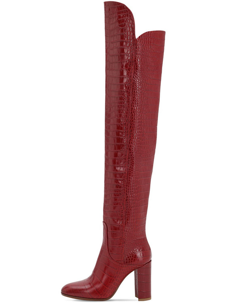 STRATEGIA 90mm Lady Croc Embossed Leather Boots in red