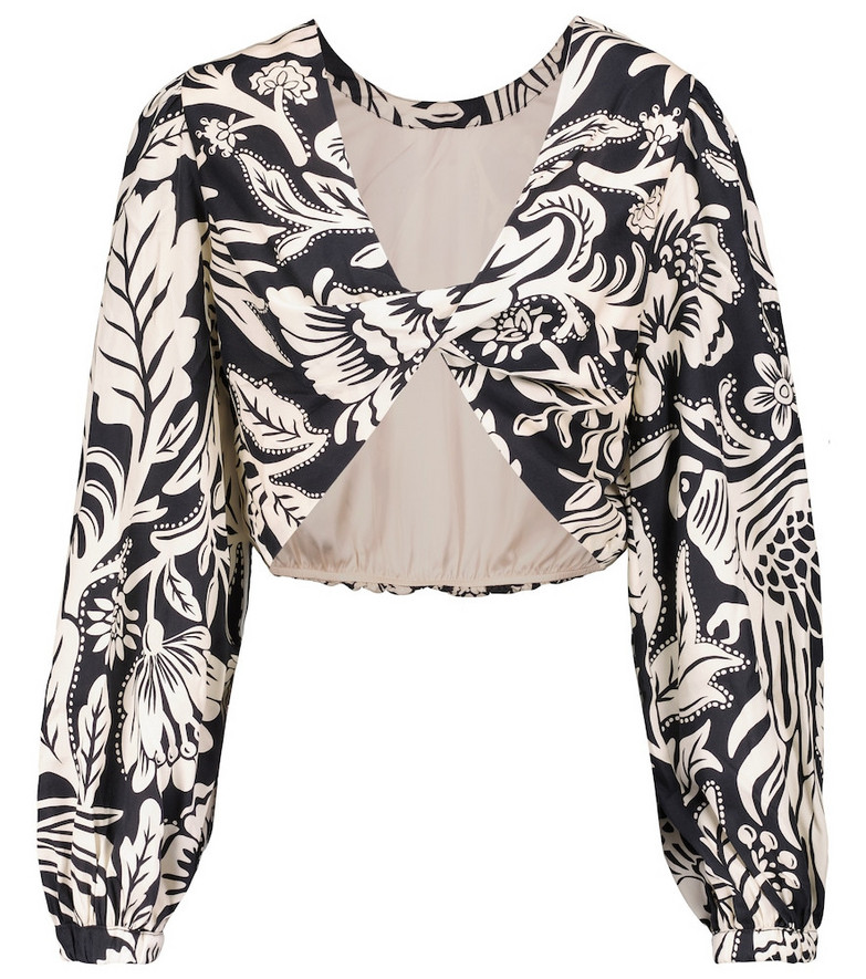 Johanna Ortiz Belle Tropic floral top in beige