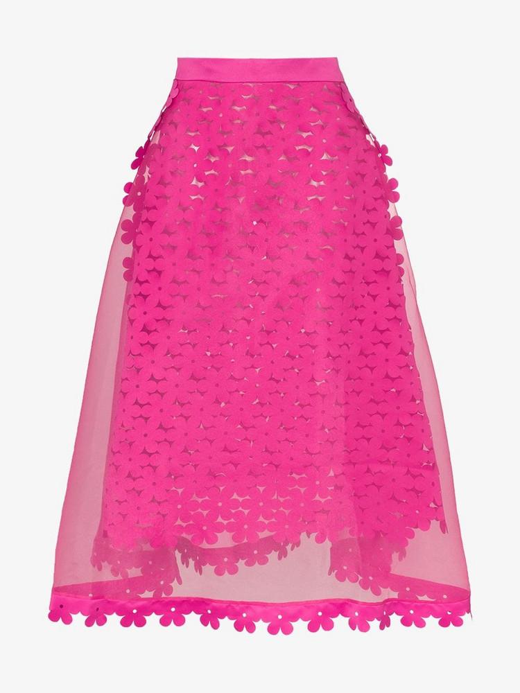 Paskal High-waisted sheer midi skirt in pink / fuchsia