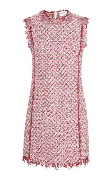 Giambattista Valli Floral-Embellished Tweed Mini Dress in pink