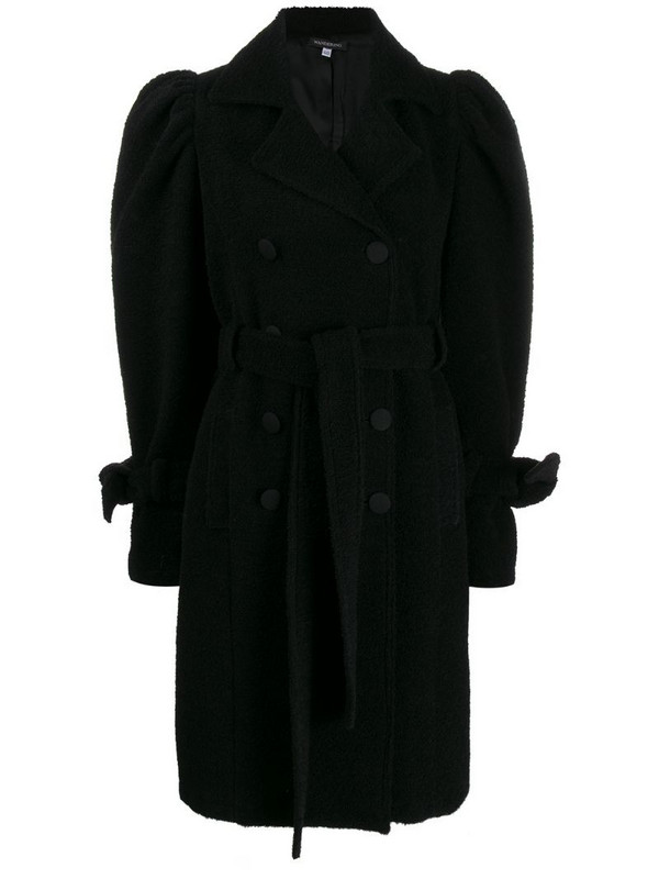 Wandering puff sleeve double-breasted coat in black