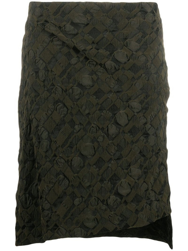Issey Miyake embroidered skirt in green