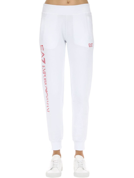 EA7 EMPORIO ARMANI Train Stretch Cotton Sweatpants in pink / white