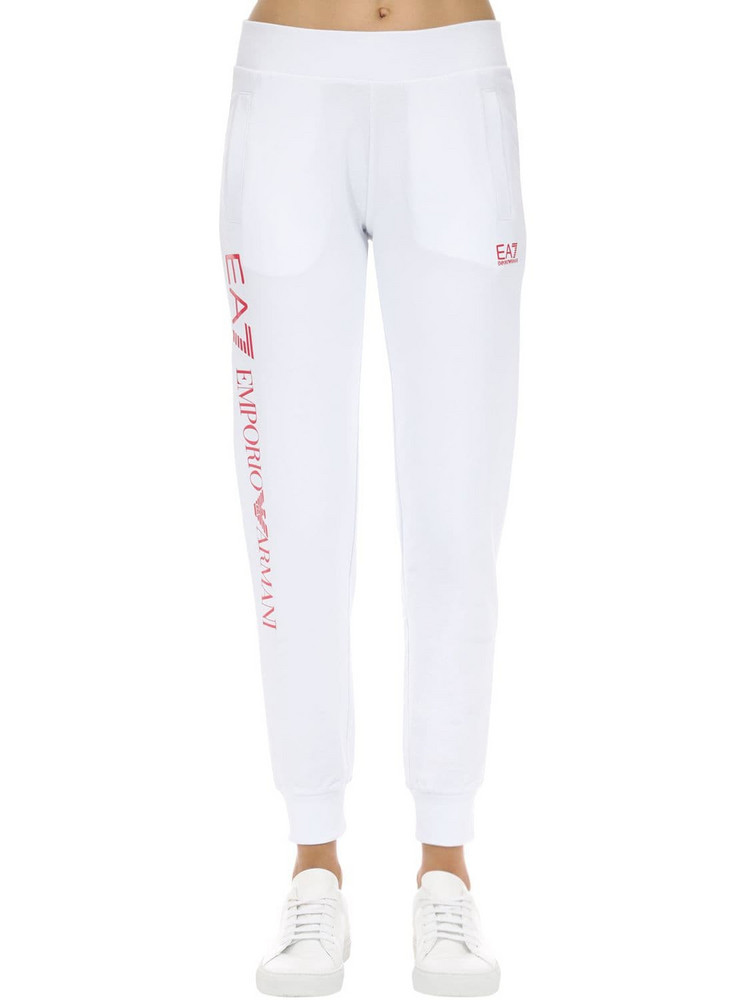 EA7 EMPORIO ARMANI Train Stretch Cotton Sweatpants in pink / white