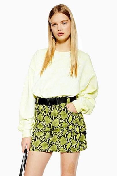 TopShop Snake Clip Buckle Denim Skirt - Lime