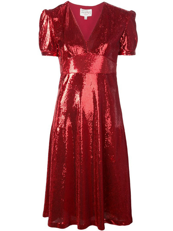 HVN Paula sequin dress in red