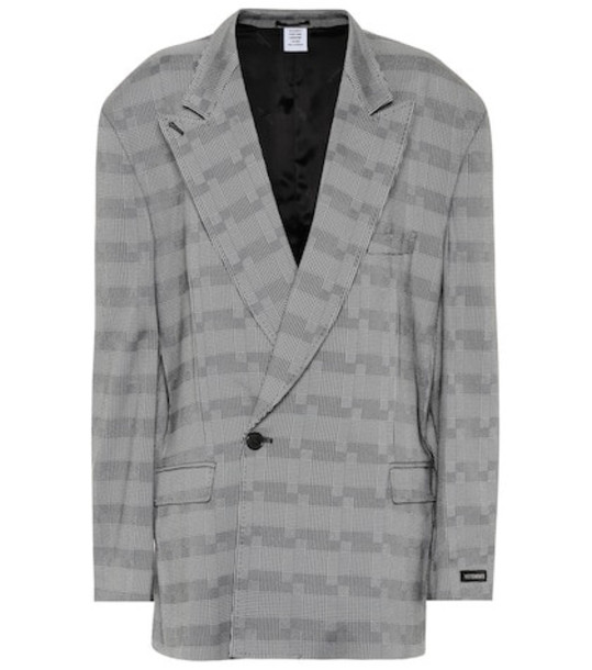 Vetements Checked single-breasted blazer in grey