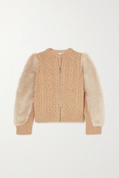 Stella McCartney - Faux Fur-trimmed Cable-knit Wool Jacket - Beige