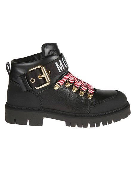 Moschino Buckled Lace-up Boots in black