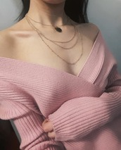 sweater,pink,ribbed top,long sleeves,ribbed sweater,v neck,low cut,low cut top,low cut sweater,light pink,rose gold,pastel,pastel pink,long sleeve sweater