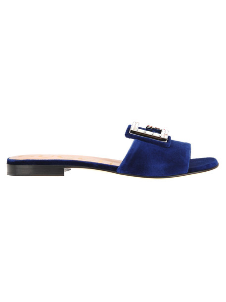 Gucci Gucci Velvet Slides With Crystal Embellishment in blue
