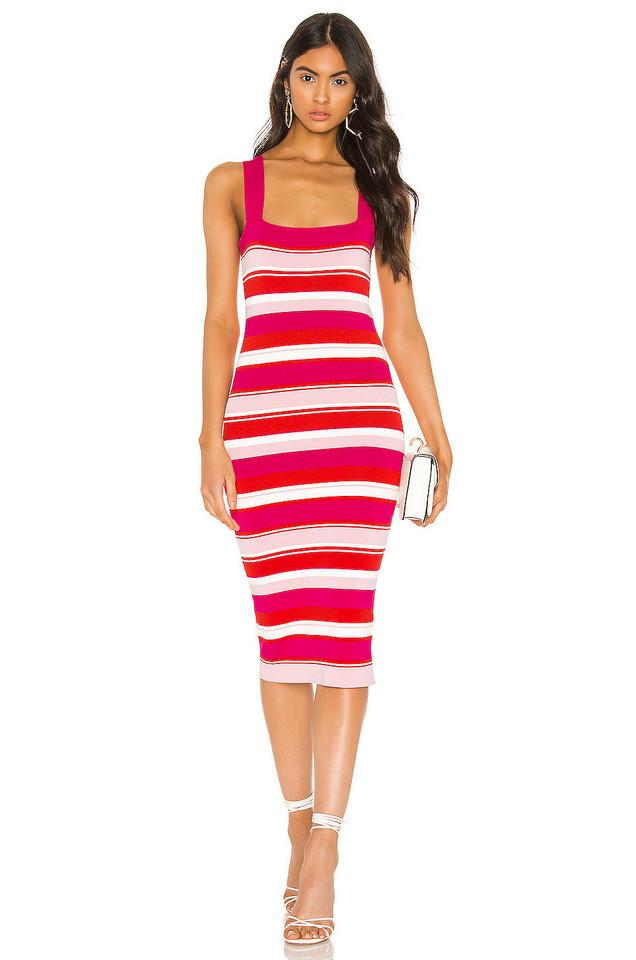Bardot Multi Stripe Dress in pink