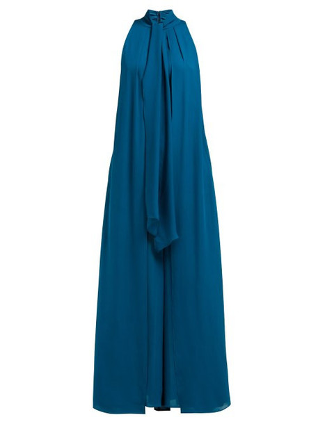 Elie Saab - Tie Neck Layered Silk Georgette Jumpsuit - Womens - Blue