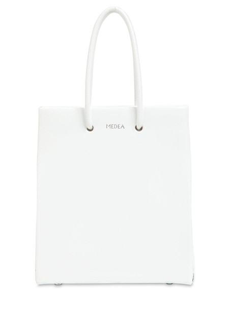 Short Medea Vinyl Top Handle Bag in white