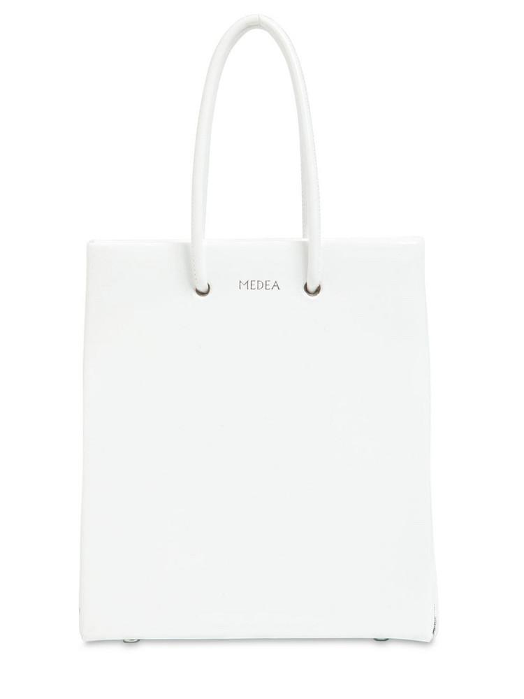 Short Medea Vinyl Top Handle Bag in white