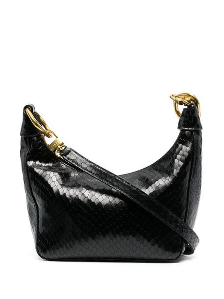 STAUD Holt snakeskin-effect shoulder bag in black