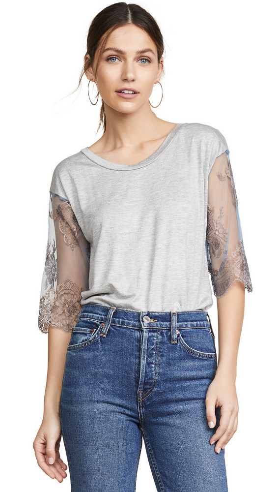 Loyd/Ford Lace Sleeve Tee in blue / metallic