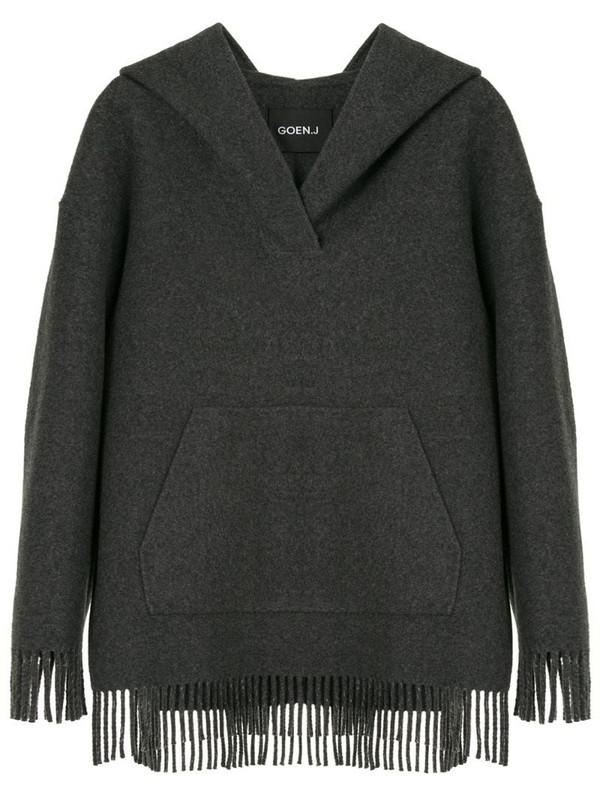 Goen.J fringed oversized hoodie in grey