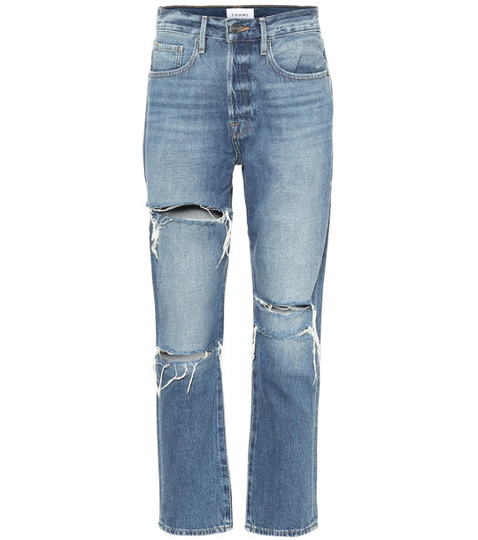 Frame Le Original high-rise straight jeans in blue