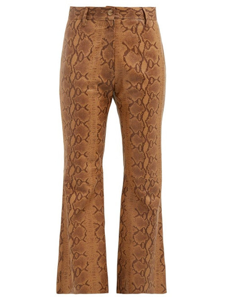 Nili Lotan - Vianna Python Print Leather Trousers - Womens - Brown