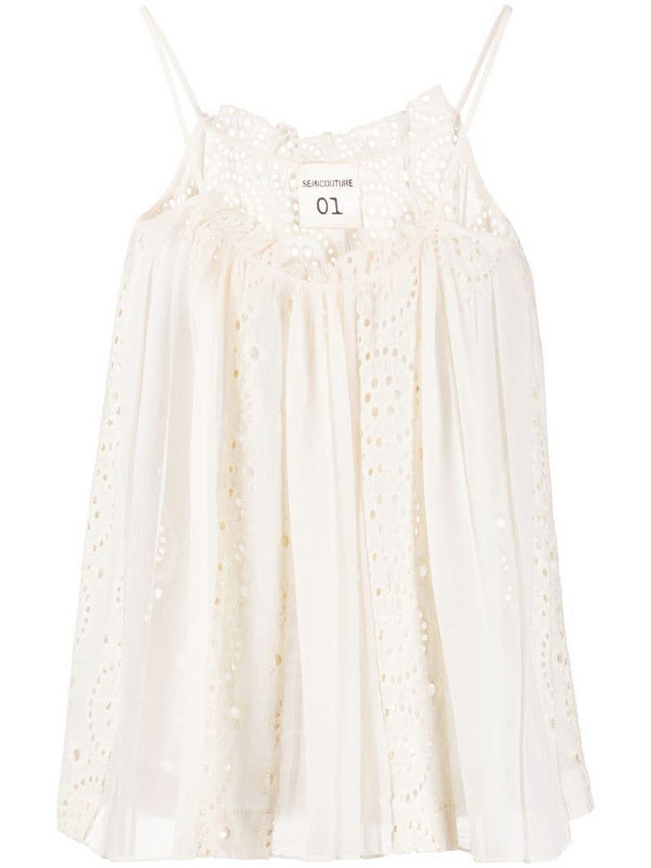 Semicouture eyelet-lace gathered cami top in neutrals