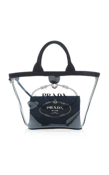 Prada Printed PVC Tote in black