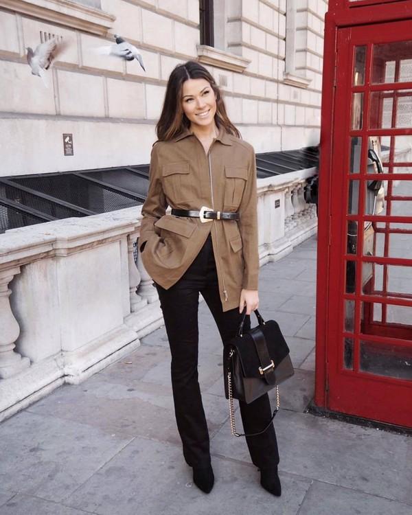 jacket h&m black boots black pants flare pants black bag shoulder bag black belt