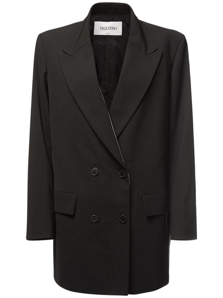 VALENTINO Double Breasted Wool Blazer in black