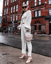 pants,white pants,high waisted pants,slingbacks,shoulder bag,knitted sweater,puffed sleeves