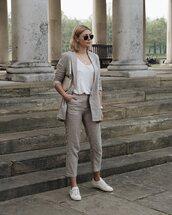 pants,striped pants,mango,grey blazer,white sneakers,white top,shoulder bag