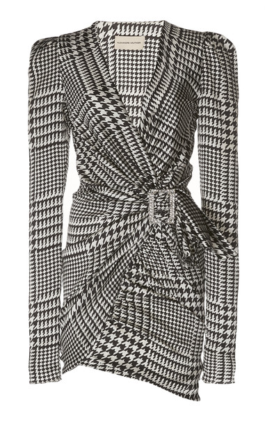 Alexandre Vauthier Herringbone Silk Dress in black / white