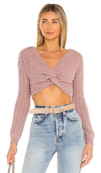 MAJORELLE Brianna Twist Sweater in Mauve in pink