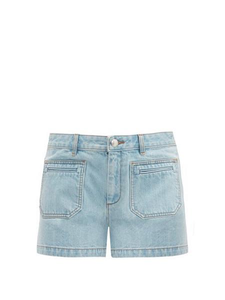 A.P.C. A.p.c. - Roma Mid Rise Denim Shorts - Womens - Light Denim