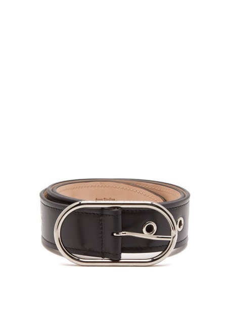 Acne Studios - Eyelet Studded Leather Belt - Womens - Black