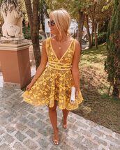 dress,mini dress,yellow dress,sleeveless dress,sandal heels,bag