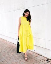 dress,maxi dress,yellow dress,sleeveless dress,black sandals,black bag