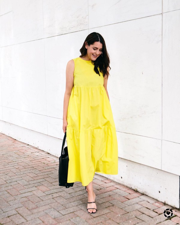 dress maxi dress yellow dress sleeveless dress black sandals black bag