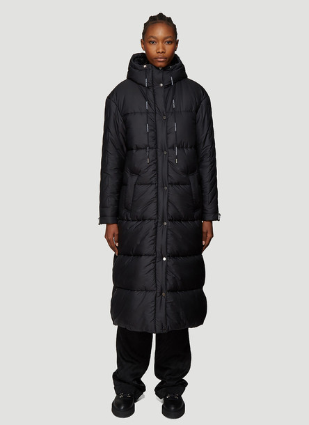Off-White Padded Drawstring Hooded Coat in Black size IT - 42