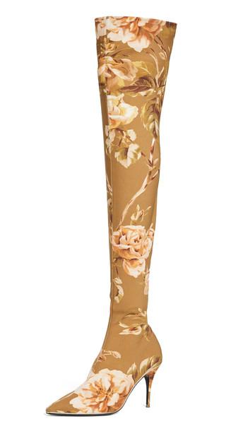 Zimmermann Over The Knee Zip Lycra Boots in rose