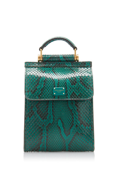Dolce & Gabbana Sicily Phone Cover Python Crossbody Bag in green